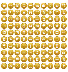 100 travel time icons set gold vector