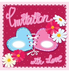 Wedding invitation card with 2 hearts and flowers vector image