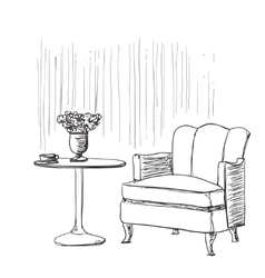 Furniture in summer cafe Chair and table sketch vector image