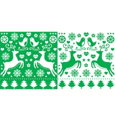 Christmas green greetings card pattern vector