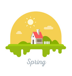 Seasonal of sweet house with chimney on green vector