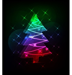 Neon christmas tree vector