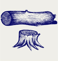 Old tree stump and log vector