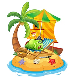 A fat monster relaxing at the beach vector image