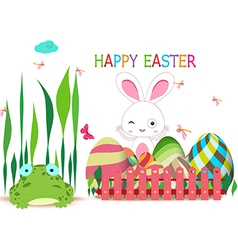 Easter eggs fence with spring bunny and frog vector