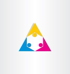 People holding hands triangle icon vector