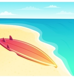 Beautiful beach seascape with surf board on the vector