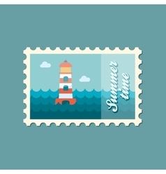 Lighthouse flat stamp summertime vector