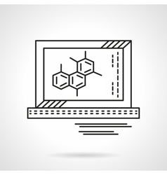 Molecule on monitor flat line icon vector