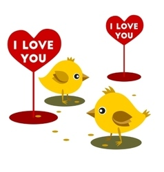 Chicken eat grain valentine day vector