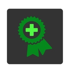 Medical quality seal flat button vector