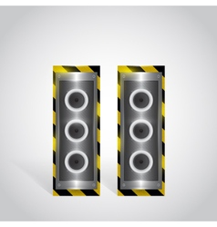 Heavy and large audio speakers in metal box vector