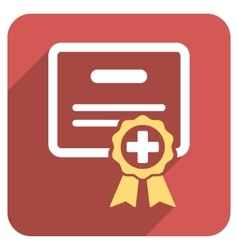 Medical certificate flat rounded square icon with vector