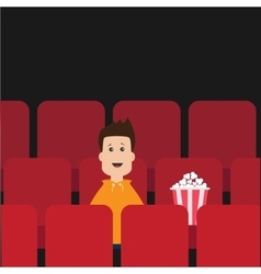 Cartoon boy sitting in movie theater film show vector