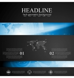 Brochure tech template with blue banner elements vector