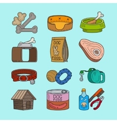 Pet dog doodle icons vector