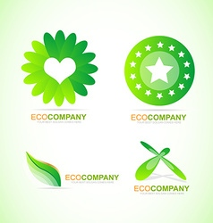 Bio eco logo icon set vector image