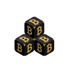 bitcoin black small bitcoin pyramid vector image vector image