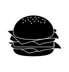 burger fast food pictogram vector image vector image