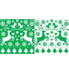 Christmas green greetings card pattern vector