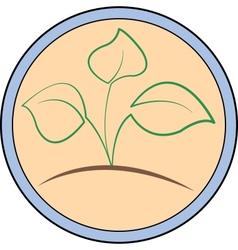 Circular logo with a green sprout vector