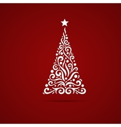 decorative christmas tree card vector image vector image
