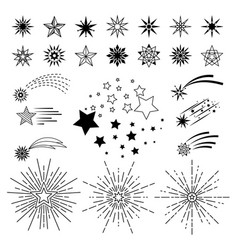 doodle sketch night star set vector image vector image