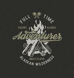 full time adventurer vintage label with textured vector image