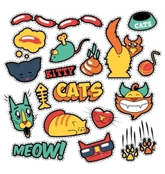 Funny cats badges patches stickers vector