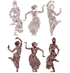 Indian dancers set vector image