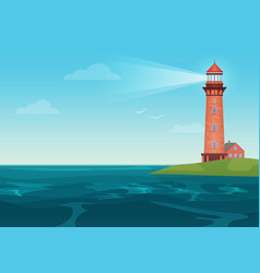 lighthouse on on the little island cartoon vector image