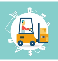 Loader lifts boxes icon vector