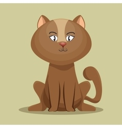 Lovely kitten brown sit icon vector