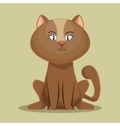 Lovely kitten brown sit icon vector