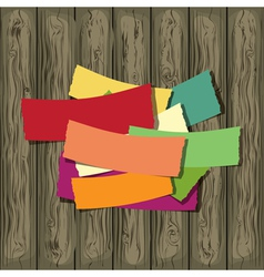 Paper on the wooden background vector image vector image