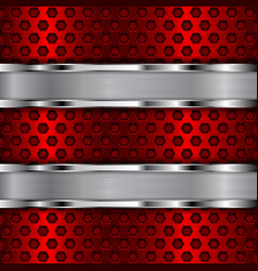 Red perforated background with stainless steel vector