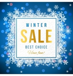 Sale banner with snowflakes vector image vector image