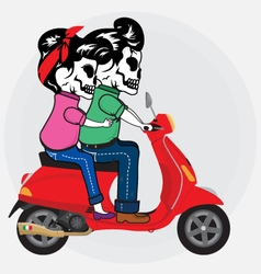 Scooter Skull Of Love vector image vector image