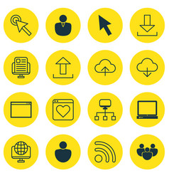 Set of 16 web icons includes program cursor tap vector