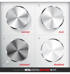 Set of four positions of cicle empty metal button vector