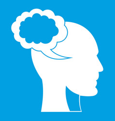 speech bubble with human head icon white vector image