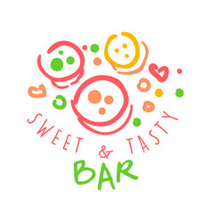 Sweet and tasty bar logo colorful hand drawn vector