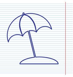 Umbrella and sun lounger sign navy line vector