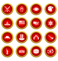 usa icon red circle set vector image