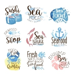 Seafood cafe promo signs colorful set vector
