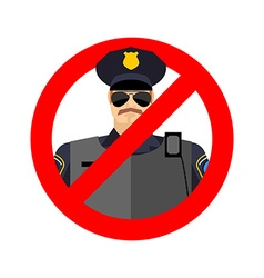 Stop cop it is forbidden by police strikethrough vector