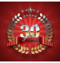 Anniversary 30th ring with red ribbon vector