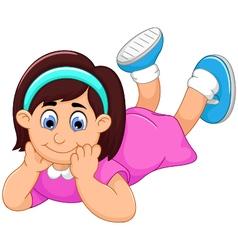 cute little girl cartoon prone vector image
