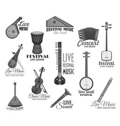 Musical instruments for music concert icons vector