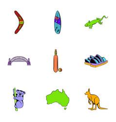 Australian continent icons set cartoon style vector